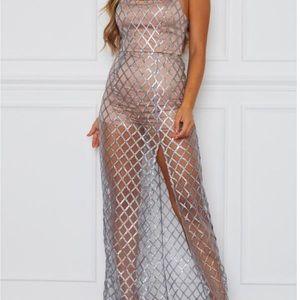 Sheer maxi dress XS